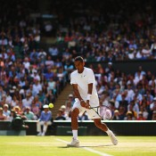 Nick Kyrgios in action against world No.1 Rafael Nadal on Centre Court in the fourth round of WImbledon; Getty Images