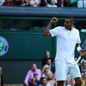 Nick Kyrgios celebrates a winning point against world No.1 Rafael Nadal on Centre Court in the fourth round of WImbledon; Getty Images