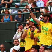 The Fanatics in full voice as they support Nick Kyrgios in his quarterfinal against Milos Raonic of Canada on No.1 Court at Wimbledon; Getty Images