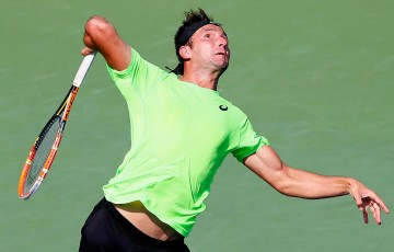 Marinko Matosevic in action during his quarterfinals loss to John Isner at the ATP event in Atlanta; Getty Images