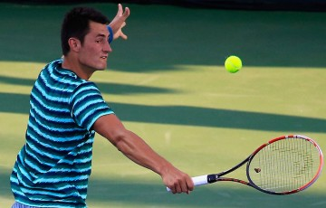 Bernard Tomic in action during his first round victory over Alejandro Gonzalez of Colombia at the ATP Citi Open in Washington DC; Getty Images