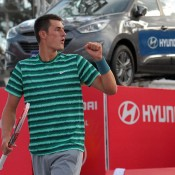Bernard Tomic celebrates during his quarterfinal victory over No.3 seed Vasek Pospisil of Canada at the ATP event in Bogota; Claro Open Colombia