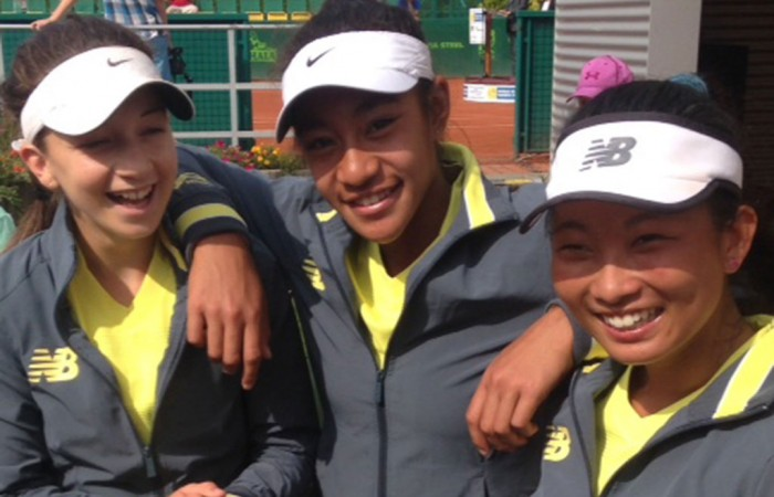 Australia's World Junior Tennis Finals girls' team of (L-R) Gabriela Ruffels, Destanee Aiava and Jeanette Lin; Tennis Australia
