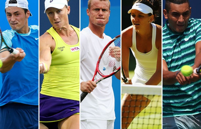 (L-R) Bernard Tomic, Sam Stosur, Lleyton Hewitt, Casey Dellacqua and Nick Kyrgios; Getty Images