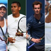 (L-R) Casey Dellacqua, Nick Kyrgios, Andy Murray and Heather Watson will play at Hopman Cup 2015; Getty Images