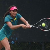 Naiktha Bains in action in the first round of the Nanjing Youth Olympic Games tennis event; photo credit Paul Zimmer