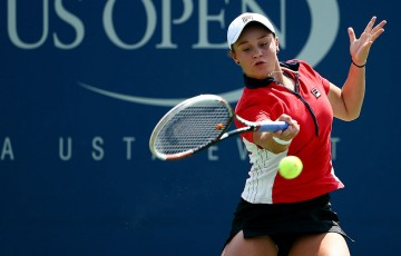 Ash Barty in action during her first round US Open loss to No.30 seed Barbora Zahlavova Strycova of the Czech Republic; Getty Images