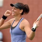 Casey Dellacqua celebrates her victory in the third round over Karolina Pliskova at the US Open; Getty Images