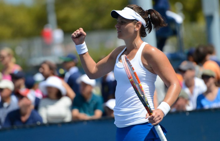 Casey Dellacqua in action during her second round victory over Qiang Wang of China at the US Open; Christopher Levy