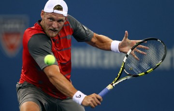 Sam Groth in action during his second round loss to Roger Federer at the US Open; Getty Images