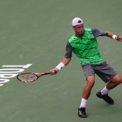 Lleyton Hewitt in action during his first round loss at the ATP Toronto Masters to Frenchman Julien Benneteau; Getty Images