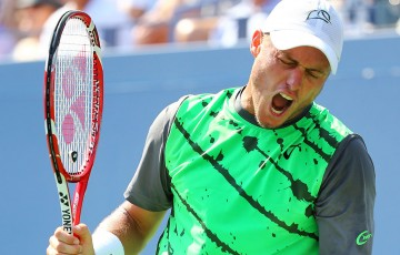 Lleyton Hewitt reacts during his first round loss to No.6 seed Tomas Berdych at the US Open; Getty Images