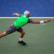 Lleyton Hewitt in action during his third round loss at the ATP Citi Open in Washington DC; Getty Images