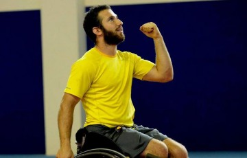 Adam Kellerman celebrates victory at the ITF Wheelchair Tennis Wroclaw Cup