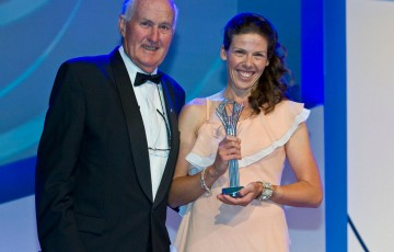 Kelly Wren (R) poses with Australian tennis legend Neale Fraser after winning the award for Most Outstanding Athlete with a Disability at the 2011 Newcombe Medal Australian Tennis Awards; Tennis Australia