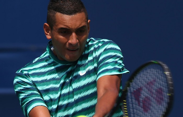 Nick Kyrgios in action during his second round loss to No.8 seed Andy Murray at the ATP Toronto Masters; Getty Images