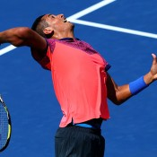 Nick Kyrgios serves during his first-round victory over No.21 seed Mikhail Youzhny at the US Open in New York; Getty Images