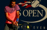 Nick Kyrgios in action during his second-round victory at the US Open over Andreas Seppi; Getty Images