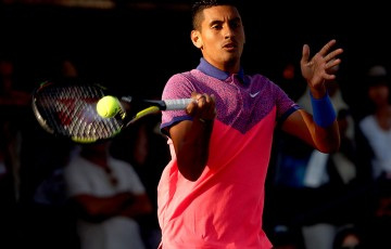 Nick Kyrgios in action during his US Open second round victory over Andreas Seppi; Getty Images