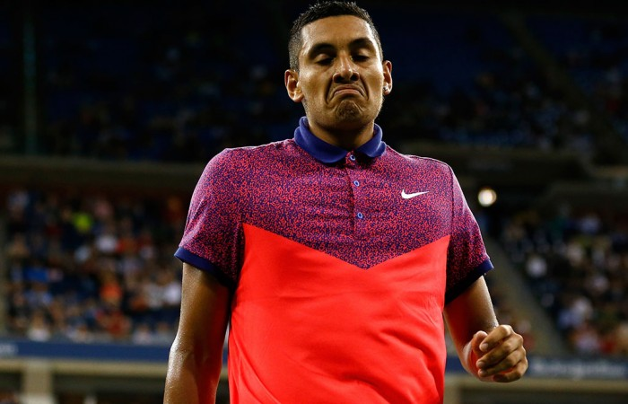 Nick Kyrgios in action during his US Open third round loss to Tommy Robredo; Getty Images
