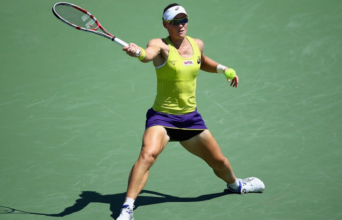 Sam Stosur in action at the WTA event in Cincinnati; Getty Images