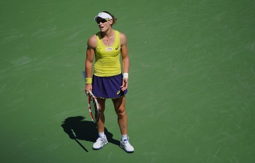 Sam Stosur in action against Serena Williams in the second round of the WTA event in Cincinnati; Getty Images