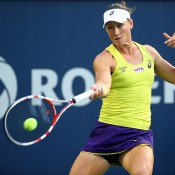 Sam Stosur plays a forehand in her second round loss to top seed Serena Williams at the WTA Rogers Cup in Montreal, Canada; Getty Images