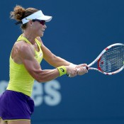 Sam Stosur in action during her first round victory over Kurumi Nara at the WTA Connecticut Open in New Haven; Getty Images