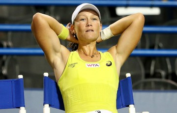 Sam Stosur reacts during her semifinal loss to Petra Kvitova at the WTA Connecticut Open in New Haven; Getty Images