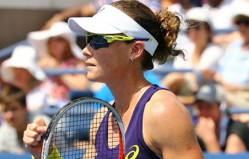 Sam Stosur in action during her first round victory over Lauren Davis at the US Open in New York; Getty Images