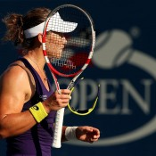 Sam Stosur in action during her second round loss to Kaia Kanepi at the US Open; Getty Images