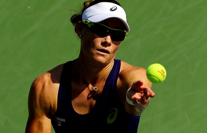 Sam Stosur serves during her first round victory over American Lauren Davis at the US Open in New York; Getty Images