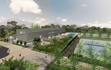 An artist's impression of the new-look Tennis ACT facilities in Lyneham, Canberra; Turco and Associates