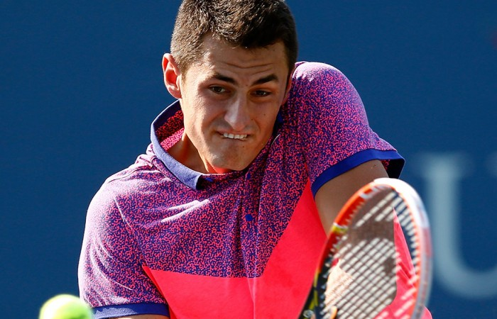 Bernard Tomic in action in the first round of the doubles event at the US Open in New York; Getty Images
