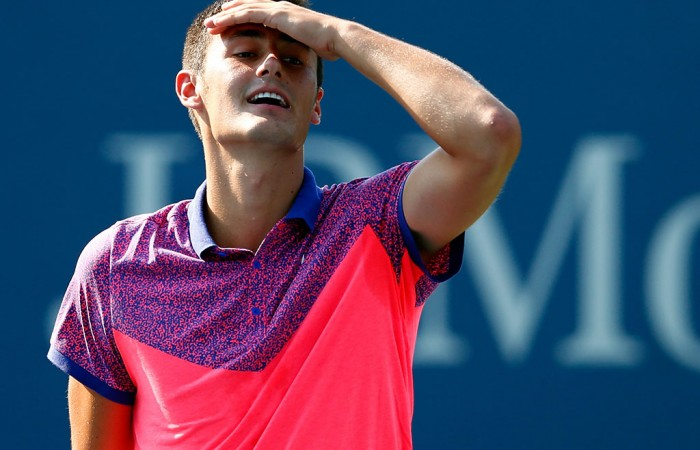 Bernard Tomic in action at the US Open; Getty Images