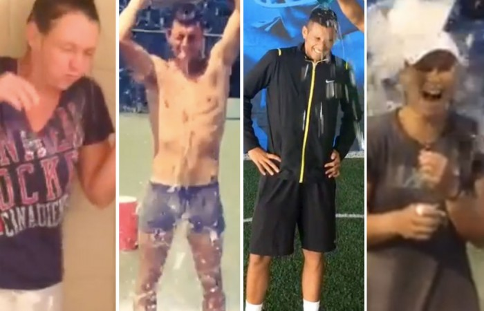 (L-R) Casey Dellacqua, Bernard Tomic, Nick Kyrgios and Sam Stosur complete the ALS Ice Bucket Challenge