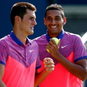 Bernard Tomic and Nick Kyrgios, US Open, 2014. GETTY IMAGES