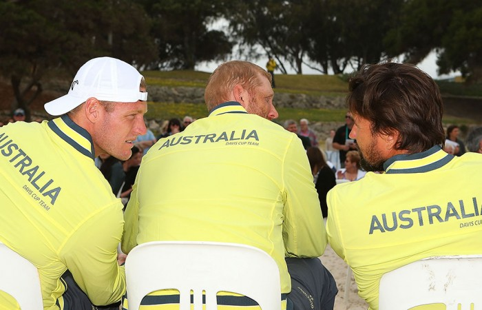 (L-R) Sam Groth, Chris Guccione and Pat Rafter at the Davis Cup official draw ceremony between Australia and Uzbekistan; Getty Images