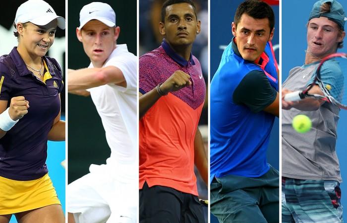 Australians (L-R) Ash Barty, Luke Saville, Nick Kyrgios, Bernard Tomic and Omar Jasika have all won junior Grand Slam titles since 2009; Getty Images