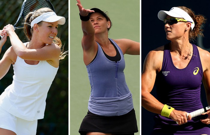 (L-R) Olivia Rogowska, Casey Dellacqua and Sam Stosur; Getty Images