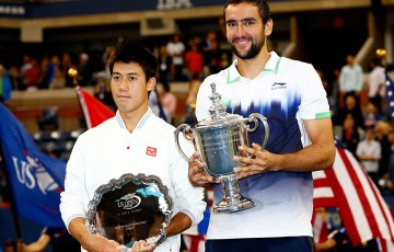 US Open 2014 champion Marin Cilic (R) and Kei Nishikori; Getty Images