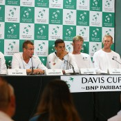 The Australian Davis Cup team faces the media in perth (l to r): Pat Rafter, Lleyton Hewitt, Nick Kyrgios, Sam Groth, Chris Guccione and Thanasi Kokkinakis.