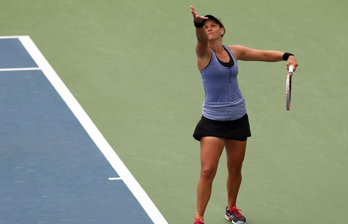Casey Dellacqua in action during her third round victory over Karolina Pliskova at the US Open; Getty Images