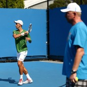 Novak Djokovic and Boris Becker, Australian Open, 2014. GETTY IMAGES