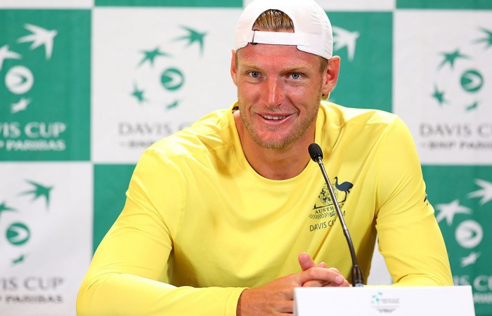 Sam Groth speaks to the media after his victory in the reverse singles rubber in Australia's Davis Cup World Group Play-off tie against Uzbekistan in Cottesloe; Getty Images