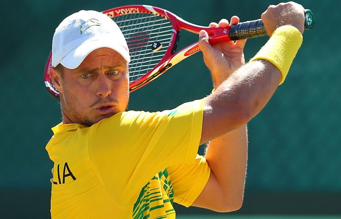 Lleyton Hewitt in action during his straight-sets win over Uzbek Farrukh Dustov in the Australia v Uzbekistan Davis Cup World Group Play-off tie in Cottesloe; Getty Images