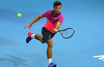 Omar Jasika in action during his first round loss to Rajeev Ram at the ATP Malaysian Open in Kuala Lumpur; Getty Images