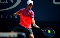 Omar Jasika in action during the US Open boys' singles event; Getty Images