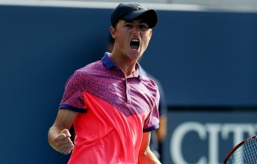 Omar Jasika celebrates during his US Open boys' singles final victory over Frenchman Quentin Halys; Getty Images