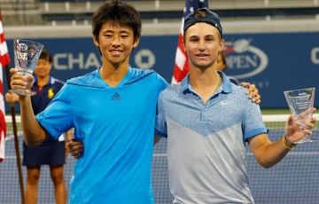 Omar Jasika (R) and Japanese parntner Naoki Nakagawa were victorious in the US Open 2014 boys' doubles final; Getty Images